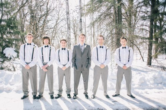 grey #suit #winter #suspenders #groomsmen Groomsmen Gifts ...
