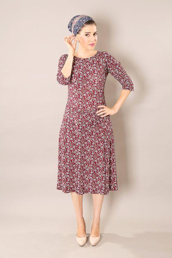 Winter sale - Floral classic dress - Long sleeve dress – Modest midi dress for women by TAMARLANDAU on Etsy