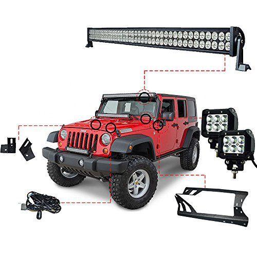 52 Inch LED Light Bar Kit and LED Work Lights Kit for Jeep JK Wrangler