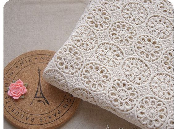 cream Cotton Lace Fabric Wedding Bridal Dress Gown Fabric Curtain ...