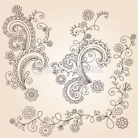 Henna mehndi estampada flores e videiras doodle vector design — Ilustração de Stock #8247925
