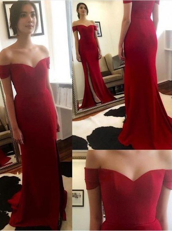 Off the Shoulder Red Prom Dresses, Floor,Length Evening Dresses, Real Made Charming