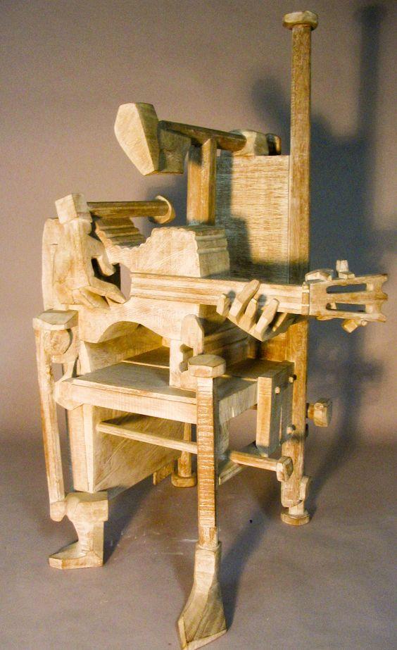 escultura en madera concertista de guitarra: