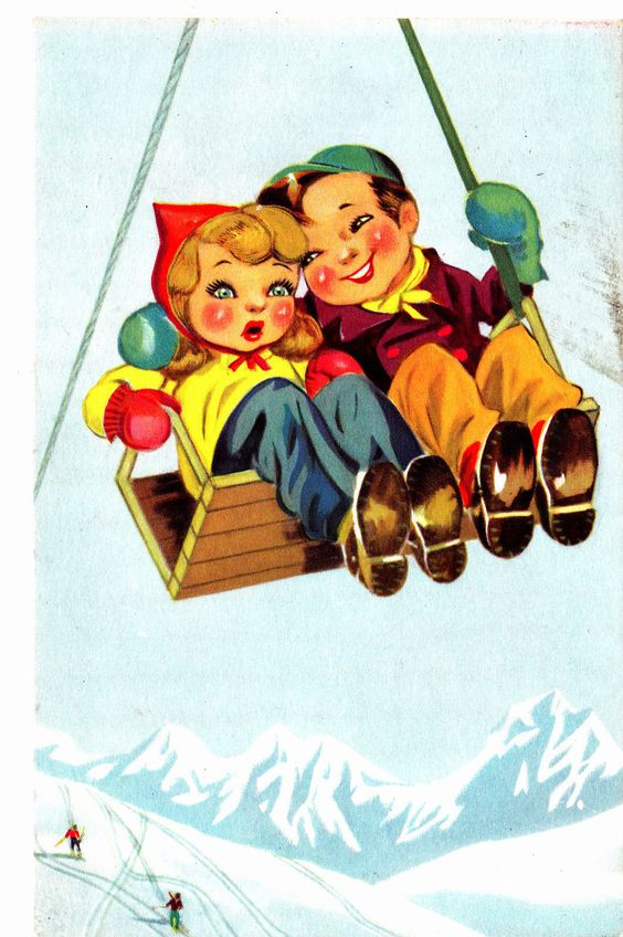 A605) Mann und Frau in Sessellift Künstler-Ak gel. | eBay