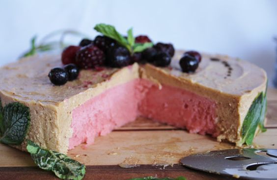 Vegan strawberry banana cream cake.