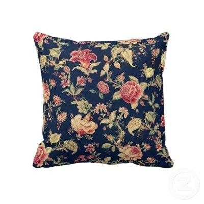 Vintage Elegant Floral Blue Rose Pillow by MaggieMart