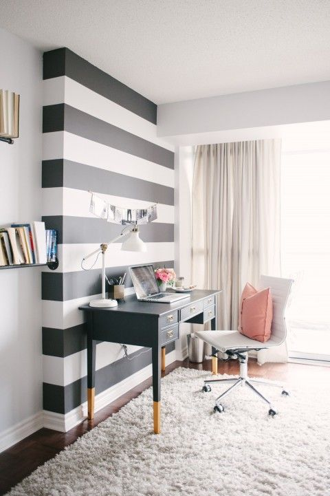 :: Havens South Designs :: loves the way this awkward wall protrusion, common to condos and apartments, is handled with stripes.: