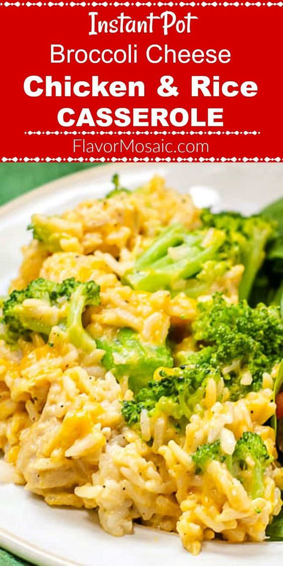 Instant Pot Broccoli Cheese Chicken And Rice Casserole - Flavor Mosaic
