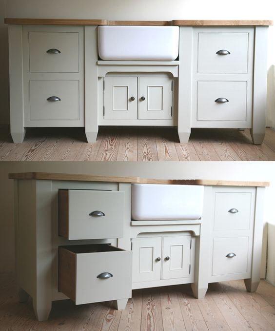 French Grey Kitchen: French Grey Sink Cupboard- Stained Wood Horizontal Surface