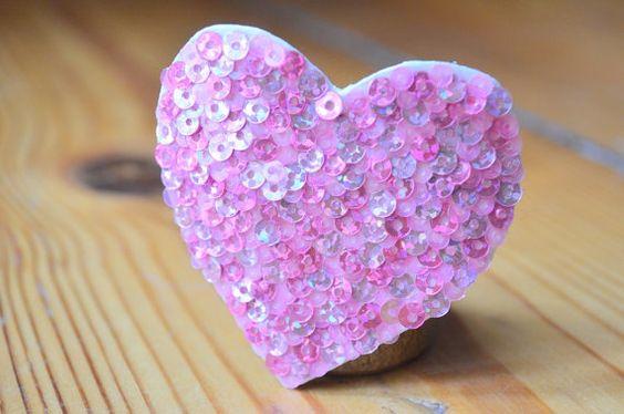 kleines rosa herz pailletten rosa herz von ZuckerstueckBerlin