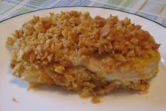 Ritzy Chicken Recipe - Food.com  (flatten chick, add 1/2c. sour cr. to soup)