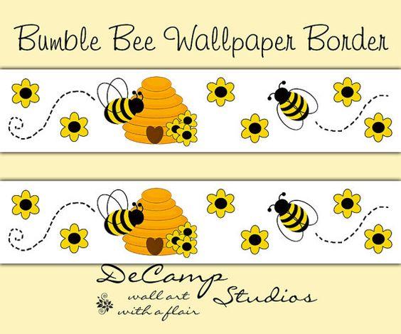 bee wallpaper border wall decals baby girl bumble beehive nursery decor decampstudios baby nursery cool bee animal