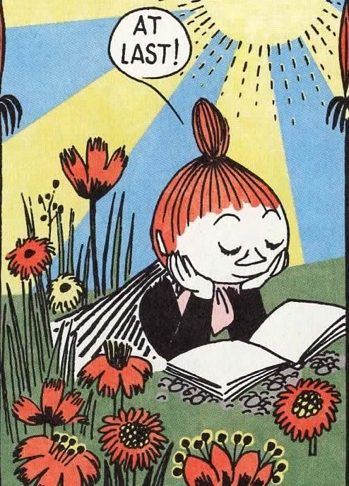 backstreetsbackalright: The Mymble's Daughter, from a 1956 Moomin comic strip by Tove Jansson, recently collected and colorized in Drawn & Quarterly's Moomin Builds a House.: