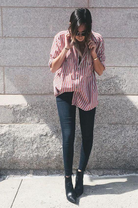 Na dúvida o combo skinny preta + camisa listrada + bota funciona sempre!:
