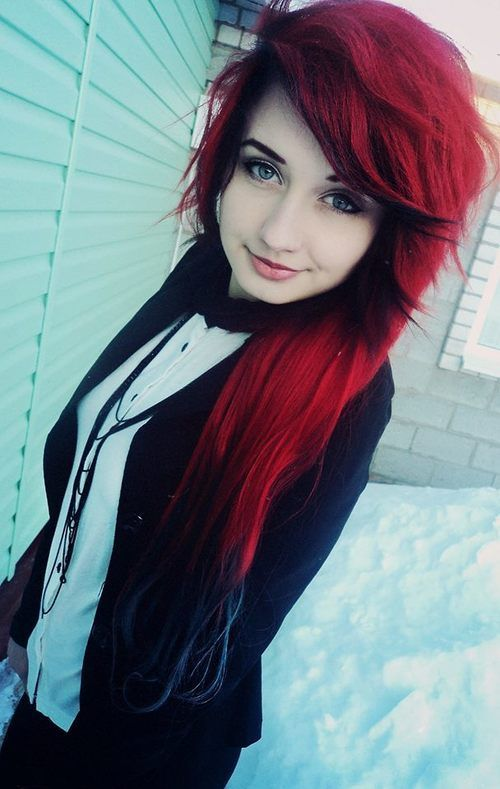 #red #dyed #scene #hair #pretty: