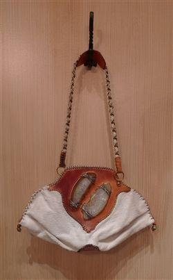 Malini Murjani White Hide Purse with Agate Slice Detail