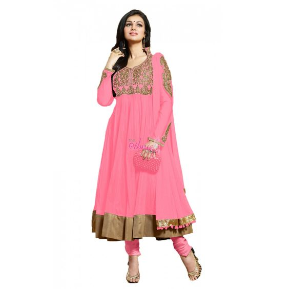 Pink Net Designer #Anarkali Suits With Dupatta #Salwarkameez