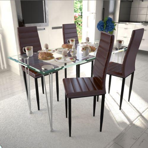 Essgruppe 4 Esszimmerstühle + Glastisch Kunstleder Stühle Tisch Essgarnitur  #Ssparen25.com , Sparen25.