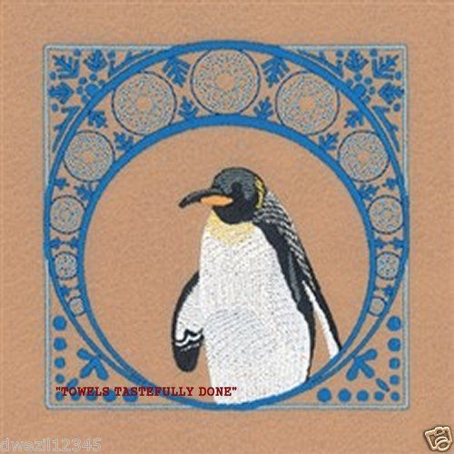 WINTER EMPEROR PENQUIN - 2 EMBROIDERED HAND TOWELS by Susan
