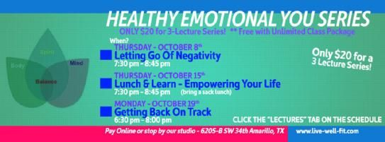 Healthy Emotional You series.. Join us to deal with those negative things inside your head and have fun with other women sharing there struggles and joys!