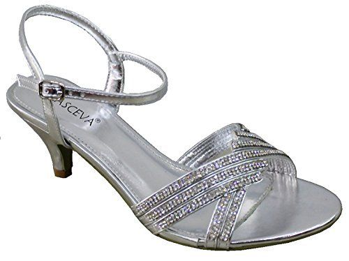 NEW SILVER DIAMANTE LOW MID HEEL PROM EVENING WEDDING SHOES