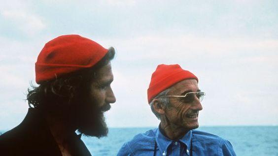 L'explorateur Jacques-Yves Cousteau et son fils Philippe, en 1985.