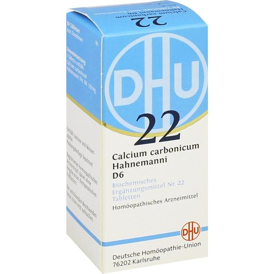 BIOCHEMIE DHU Schüssler Salz 22 Calcium carbonicum D6 Tabletten: Schüssler Salz Nr.22  Packungsinhalt: 80 St Tabletten PZN: 01196330…