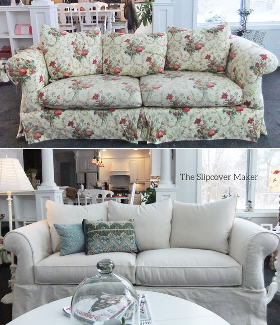 A natural denim slipcover updates this floral sofa beautifully. Fabric: 12 oz. cotton denim from Big Duck Canvas.