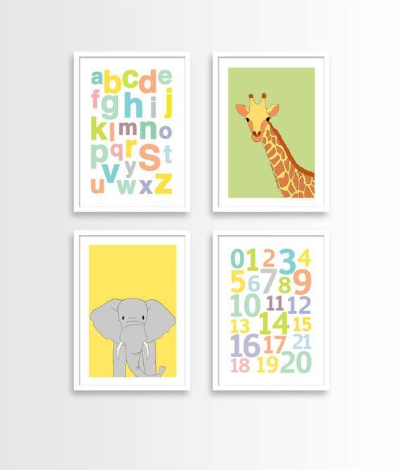 Safari nursery decor, elephant print, giraffe print, abc wall art, neutral nursery decor, gender neutral baby gift, set of 4 prints