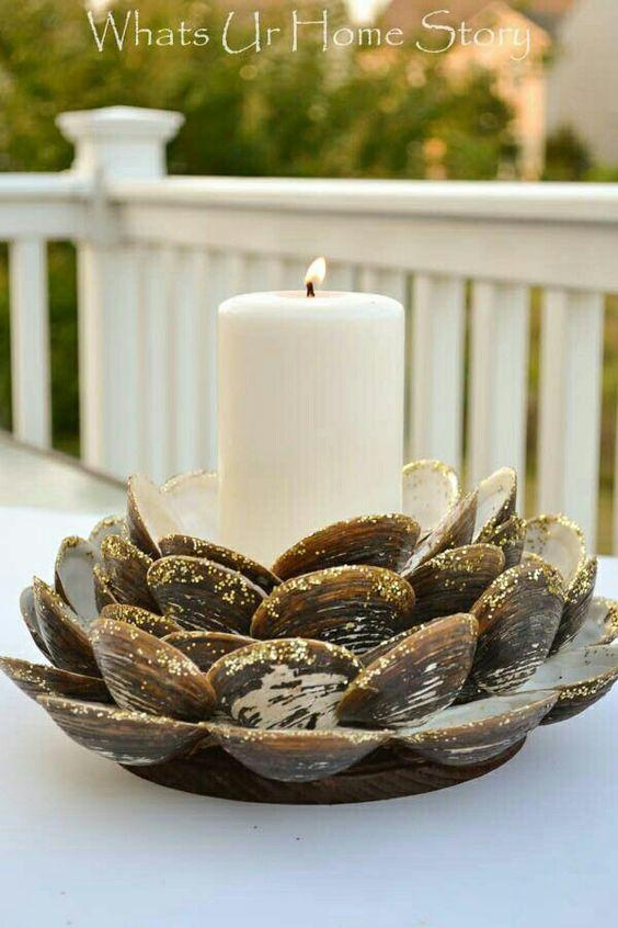 Easy Summer decor - DIY clam shell candle holder #nautical # ...