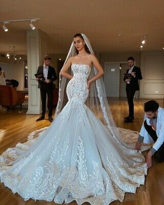Ad Ebay Strapless Mermaid Wedding Dresses Bridal Gowns Lace Up Corset Appliques C In 2020 Wedding Dress Necklines Strapless Wedding Dress Mermaid Ball Gowns Wedding