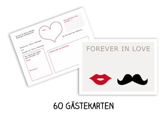 60 Gästekarten Hochzeit Wünsche Bart und Kußmund von OOH HAPPY DAY auf DaWanda.com
