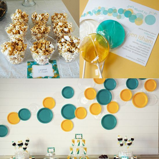 """""""She's about to Pop"""" Baby shower theme. Starting with lollipop invitations and a bubble machine that greeted guests at the door, she carried it out through a menu that included POP 'ems, POPcorn, soda POP and more!"""