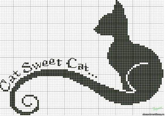 Черный кот - Вышивка кошек - Вышивка: