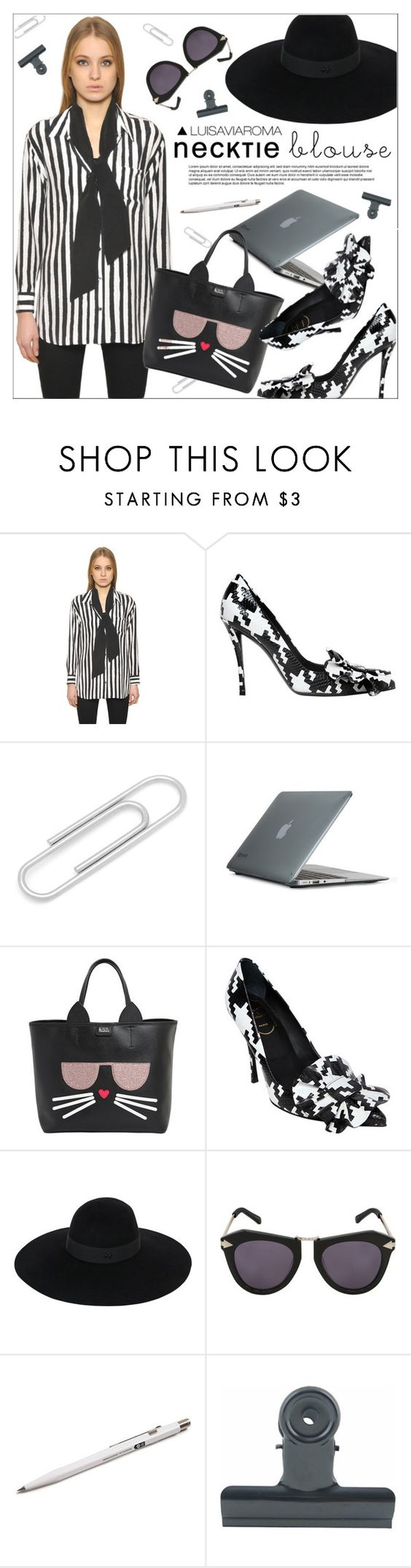 """""""The Necktie Blouse"""" by luisaviaroma ❤ liked on Polyvore featuring Equipment, Roger Vivier, Ox & Bull Trading Co., Speck, Karl Lagerfeld, Maison Michel, Karen Walker, Monocle and Holly's House"""