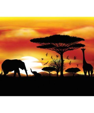 SAFARI ANIMALS POSTER BRIGHT COLOUR WILD JUNGLE SUNSET PRINT ABSTRACT TREES