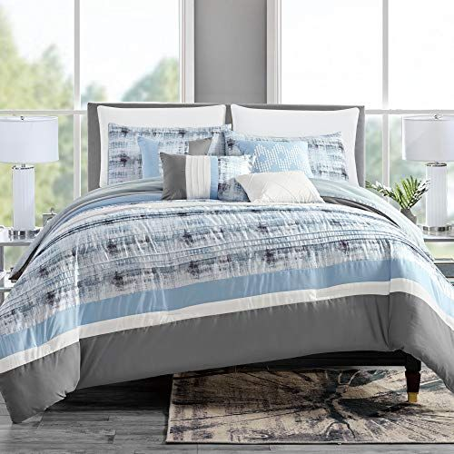 Grandlinen 7 Piece Light Blue Grey White Abstract Bed In A Bag