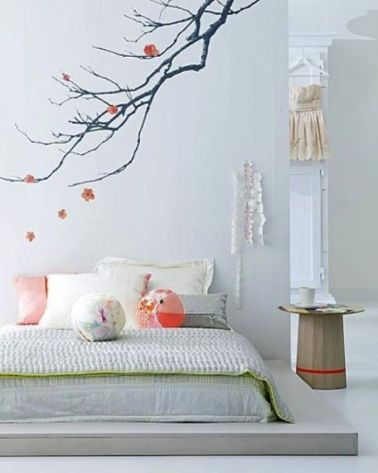 Armoires zen and roses on pinterest for Peinture murale chambre zen