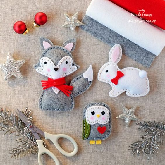 Winter Felt Plush Animals. Simon Says Stamp Felt dies. Project by Wanda Guess for SSS.
