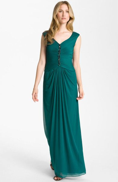 Adrianna Papell Embellished Pleated Bodice Mesh Gown in Green (forest) $168