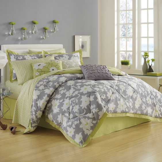 grey walls light gray and lime green bedding bedding cory bedding