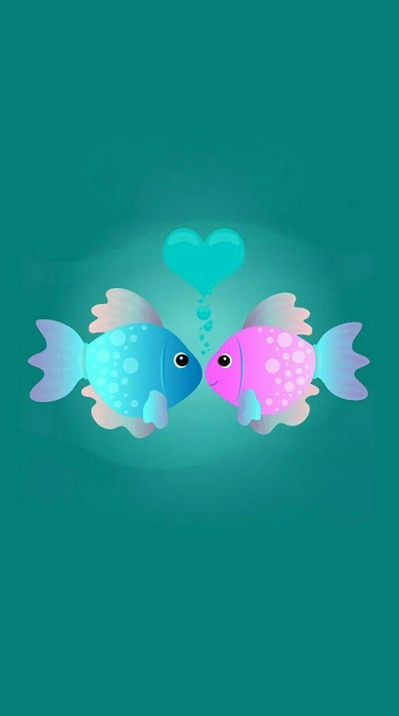 Dos peses que se aman. Así deben ser las parejas que están enamorados.