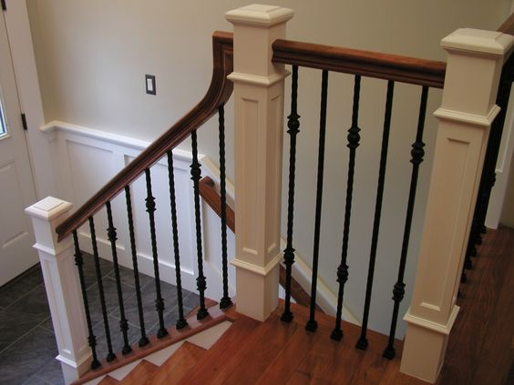 Metal Balusters Wood Railing And Home Renovation On Pinterest
