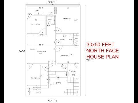 30x50 Feet North Facing House Plan 3bhk North Face House Plan With Parking Youtube North Facing House 30x50 House Plans House Plans