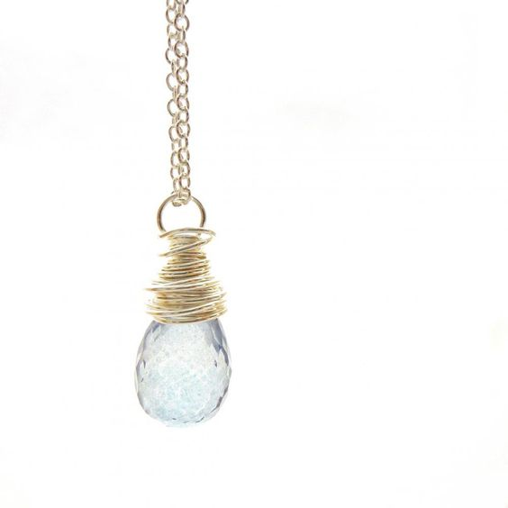 Wire Wrapped Blue Quartz Necklace I.. on Luulla