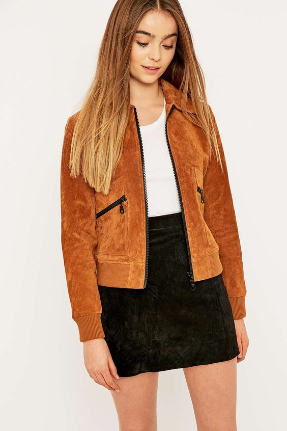 Urban Outfitters Suede '70s Bomber Jacket