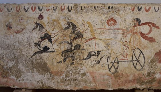 A chariot race. Fresco on the inside side of sarcophagus slab from a Lucanian Tomb. Second half of the 4th century BCE. Paestum, National Archaeological Museum