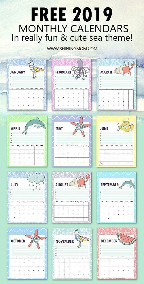 Free 2019 Calendar Printable In Cute And Happy Print Planner