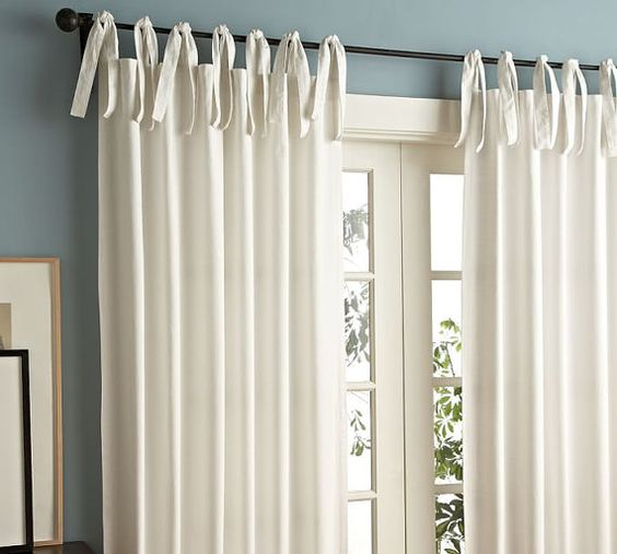 Curtains Ideas cotton curtains white : White Tie Top 52'' Cotton Curtains / Drapes / от TheNewHome1 ...