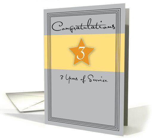 Employee Anniversary Congratulations 3 Years Service Star Card Work Anniversary Cards Work Anniversary Anniversary Congratulations